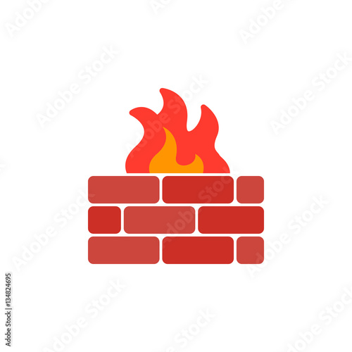 Fotografía  Brick wall and fire icon vector, filled flat sign, solid colorful pictogram isolated on white