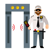Vector Airport Metal Detector Gate And Security Man. Flat Style Colorful Cartoon Illustration.