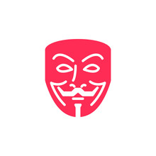 Anonymous Mask Icon Vector, Filled Flat Sign, Solid Colorful Pictogram Isolated On White. Hacker Symbol, Logo Illustration
