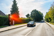 Geblitzt PKW Sportwagen wird geblitzt Radarkontrolle Geschwindigkeitsüberschreitung Blitzer abzocke abgezockt