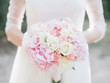 Leinwanddruck Bild wedding bouquet with white roses and hydrangea