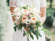 canvas print picture wedding bouquet in bride's hands, david austin