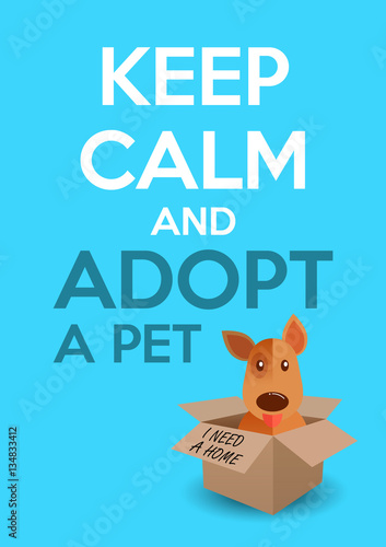 International homeless animals day. Cute puppy in a box. Keep calm ...