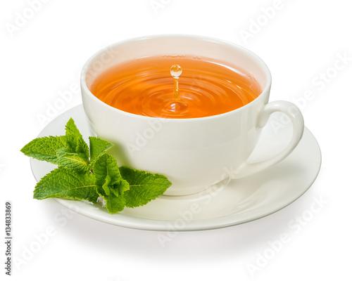 Zdjęcie XXL filiżanka herbaty z listkami mięty