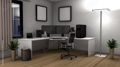 Fotografia  3D illustration of an office setup