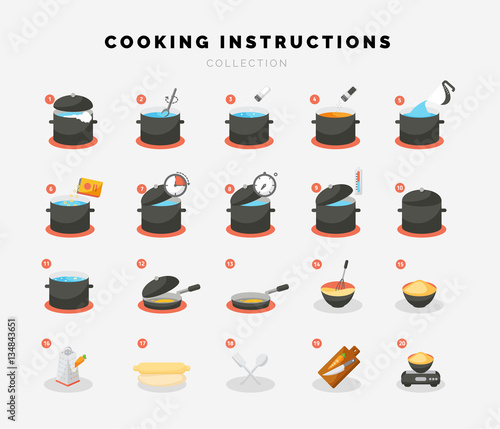 Fotomural Cooking flat icons for Infographic or manual.