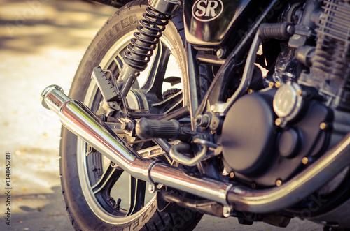 Deurstickers Fiets Vintage disc brake with motorcycle wheel.vintage style.