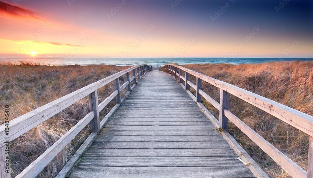 Fototapety, obrazy: Przeprawa przez plażę nad Morze Bałtyckie - wiosna