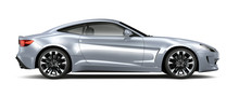 Silver Coupe Car - Side View