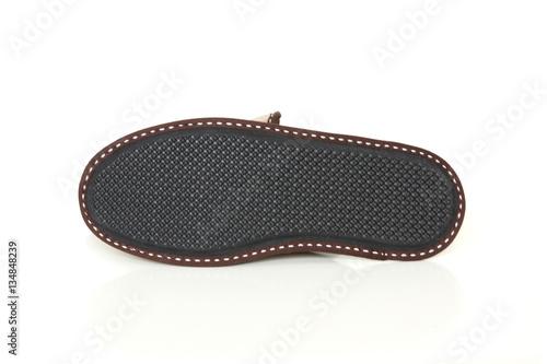 4e9987596f6 A durable EVA sole slipper isolated on white background  Sheepskin slippers  isolated on white background