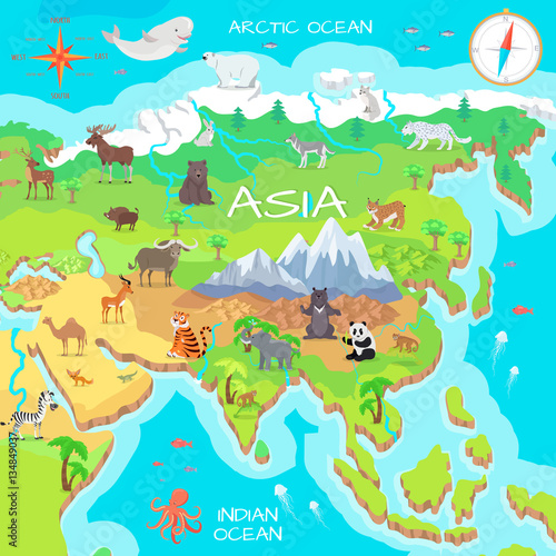 Deurstickers Dinosaurs Asia Mainland Cartoon Map with Fauna Species