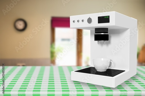 Photo  Composite image of coffee maker machine in white 3d