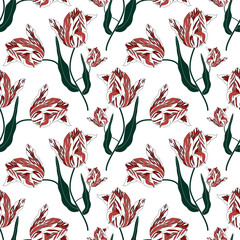 Panel Szklany Pattern with tulips.Seamless vector floral print.Spring textile texture