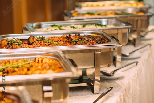 Catering Food Wedding Event Table Wallpaper Mural