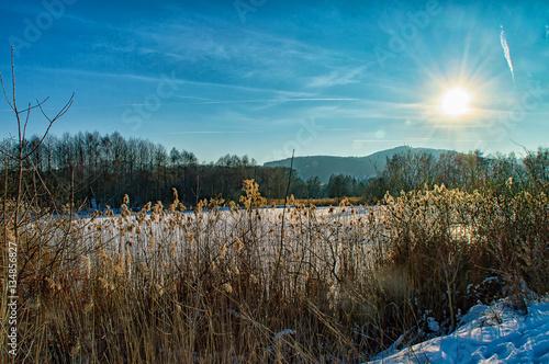 Keuken foto achterwand Turkoois The Winter landscape at the Lake in Ilmenau Thuringia, Germany