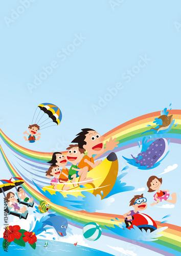 In de dag Regenboog ファミリー旅行、家族旅行、家族で海水浴