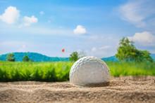 Golf Ball On Sand Bunker In Go...