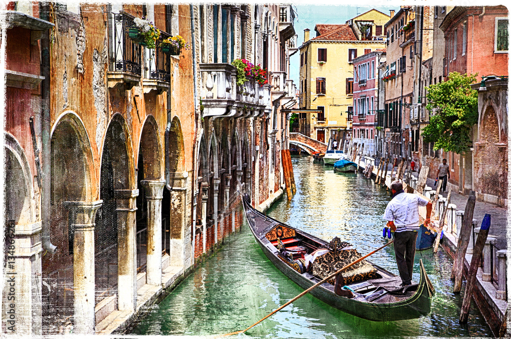 Fototapety, obrazy: Romantic canals of beautiful Venice, artwork in paintig style