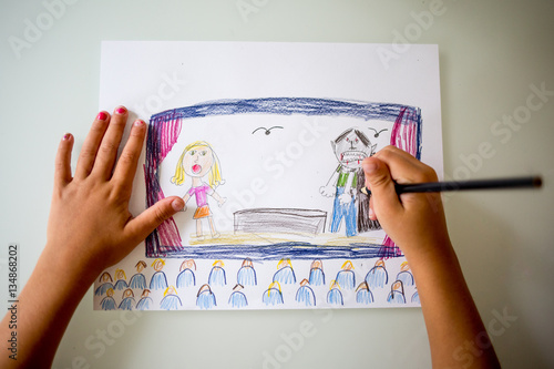 Childs drawing of figures on stage