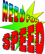 Need For Speed Graphic With Large Gradient Star Burst Behind The Text.  Colorful And Powerful