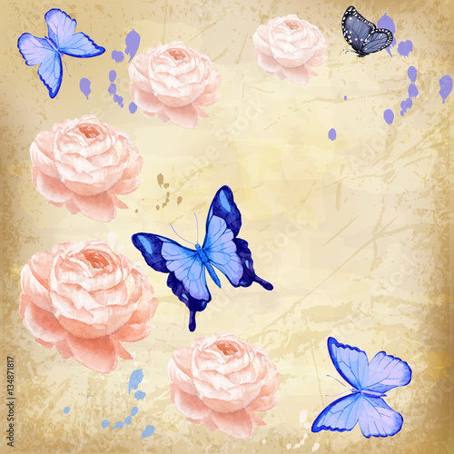 Foto op Plexiglas Vlinders in Grunge roses with butterfly on grunge background