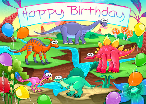 Staande foto Kinderkamer Happy Birthday card with funny dinosaurs