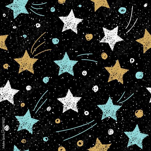 doodle-gwiazda-bezszwowe-tlo-zlota-niebieska-i-biala-gwiazda