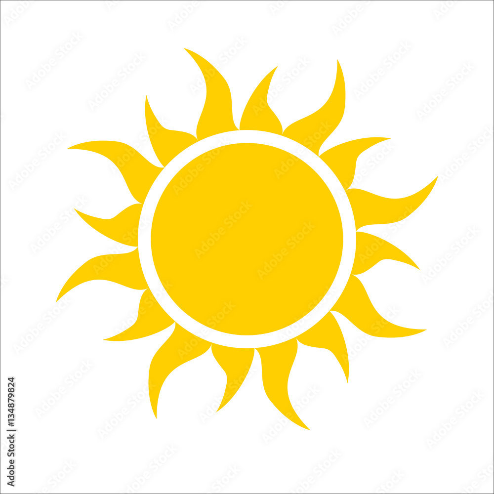Fototapety, obrazy: Yellow sun icon isolated on white background. Modern simple flat sunlight, sign. Trendy vector summer symbol for website design, web button, mobile app. Logo illustration