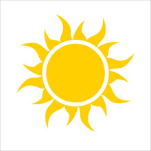 Yellow Sun Icon Isolated On White Background. Modern Simple Flat Sunlight, Sign. Trendy Vector Summer Symbol For Website Design, Web Button, Mobile App. Logo Illustration