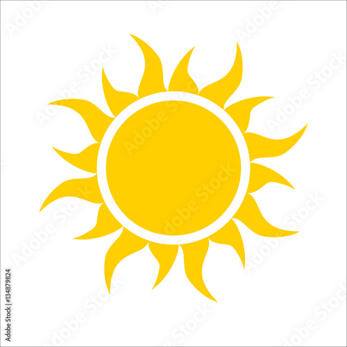 Yellow sun icon isolated on white background. Modern simple flat sunlight, sign. Trendy vector summer symbol for website design, web button, mobile app. Logo illustration Fototapete