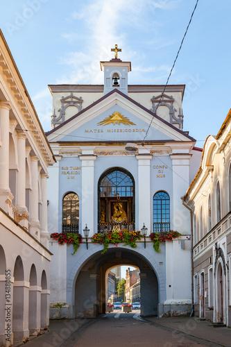 Ausros gate (gate of dawn) with basilica of Madonna Ostrobramska in Vilnius, Lithuania