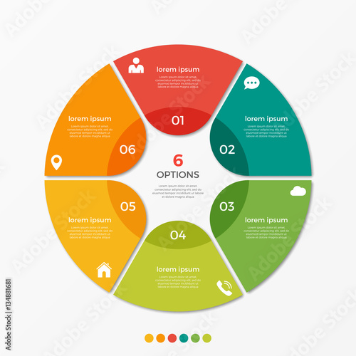 Papel de parede  Circle chart infographic template with 6 options  for presentations, advertising