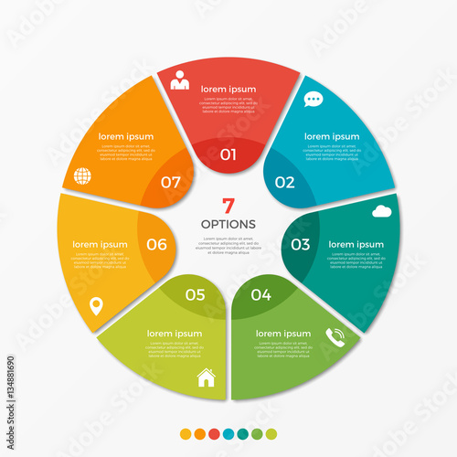 Poster  Circle chart infographic template with 7 options  for presentations, advertising