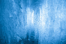 Frozen Waterfall. Icicles Structure
