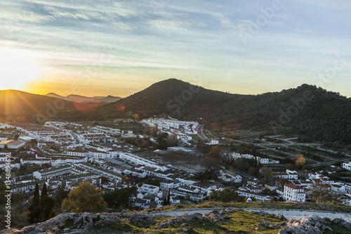 Sunset landspace white architecture of tourist Aracena's town. H