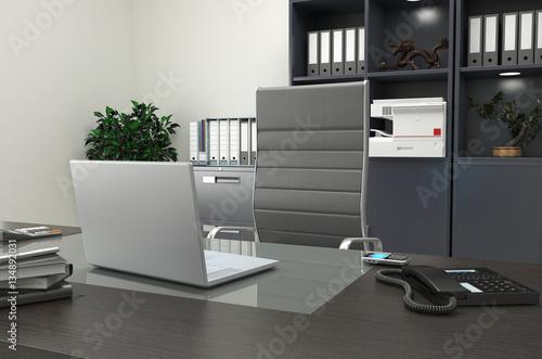Scrivania Per Computer Design.Scrivania Dirigenziale Con Pc Laptop Buy This Stock Illustration