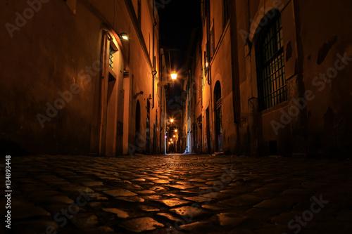 La pose en embrasure Ruelle etroite Rue de Rome la nuit, Rome, Latium, Italy