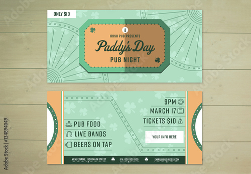 st patrick s day event ticket layout buy this stock template and