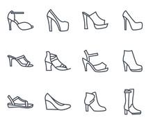 Women Shoes Line Icon