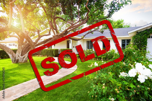 Fotografía  Beautiful House With Sold Stamp Overlay