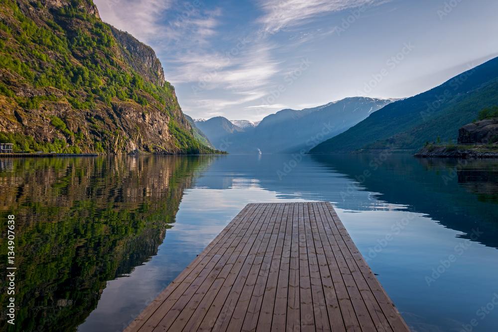 Fototapety, obrazy: Aurland fjord in Norway