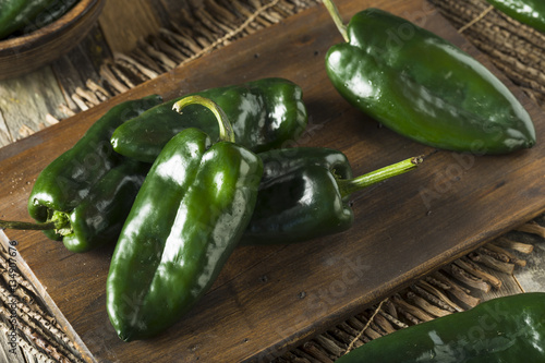 Poster Hot chili peppers Raw Green Organic Poblano Peppers