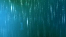 Animated Blue Green Swirling Background With Falling Reflective Binary Numbers.  3D And 2D Elements Rendered In 4K.