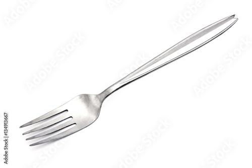 Fotografie, Obraz  Silver fork on white background.Stainless steel fork isolated