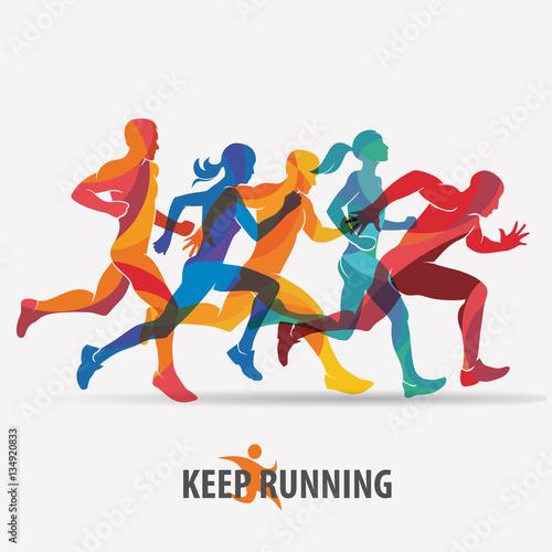 Fototapeta running people set of silhouettes, sport and activity  backgroun obraz