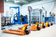 Forklifts In The Warehouse Or Service Station