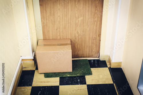 Parcel Waiting For You At Your Door Buy This Stock Photo And