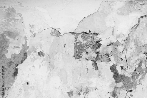 Photo sur Toile Beton Wall fragment with scratches and cracks
