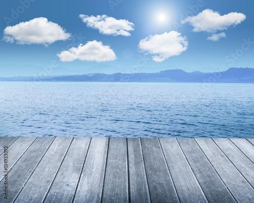 wood terrace against beautiful seascape Canvas Print