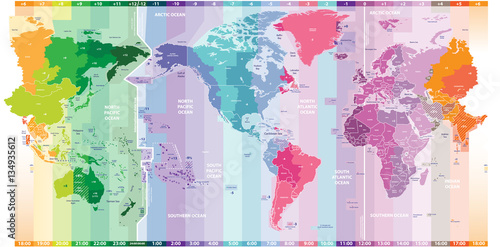 Poster Wereldkaart vector standard time zones of the world political map centered by America